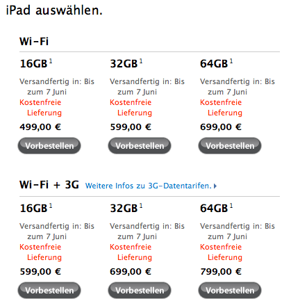 iPad Preise