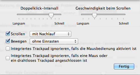 Trackpad Optionen